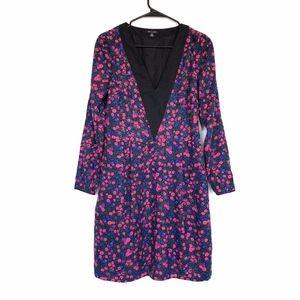 I Heart Ronson Black Pink Floral V Neck Dress